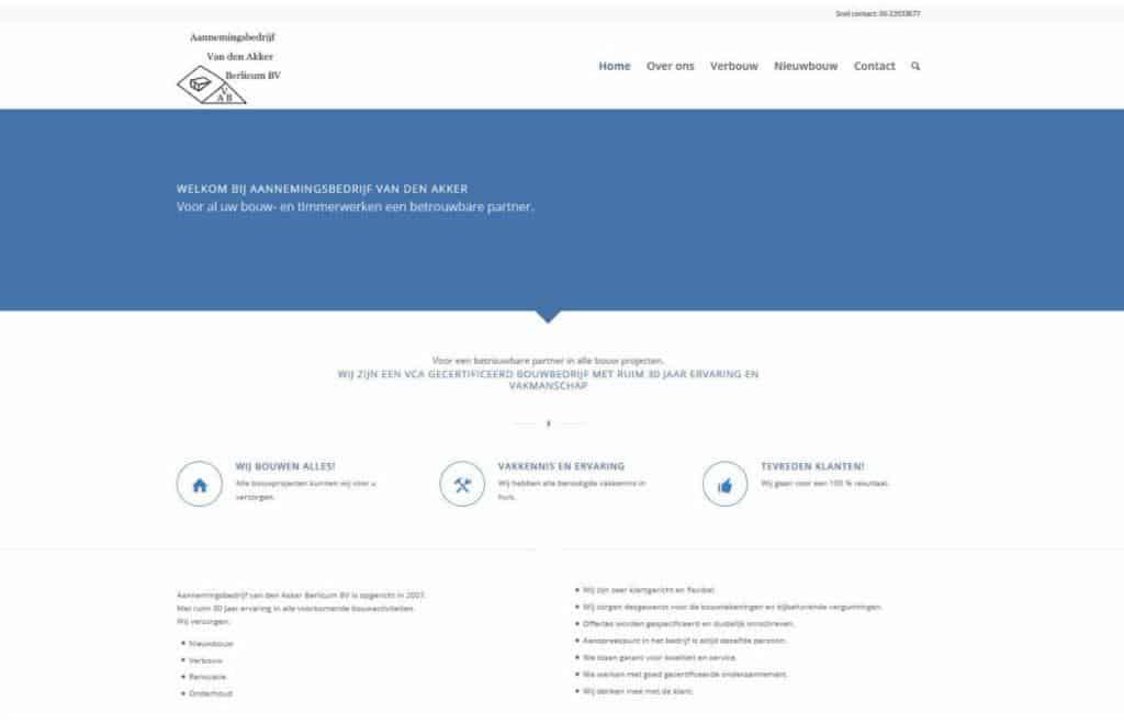 aannemingsbedrijf vd akker website door vgwdesign